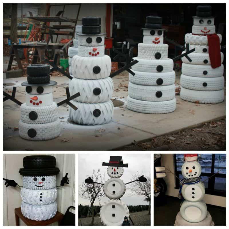 Adorable old tire snowmen