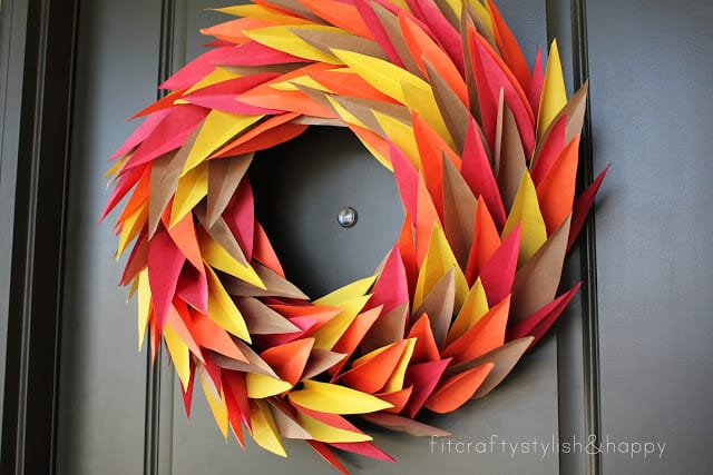 Angular paper leaves door wreath