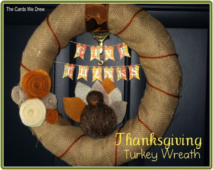 Balled yarn thanksgiving turkey wreath