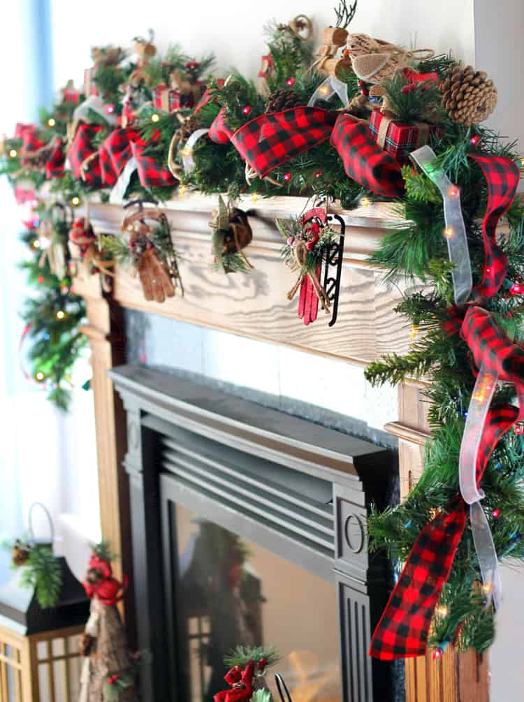 Beautiful pine and ribbon mantel garland