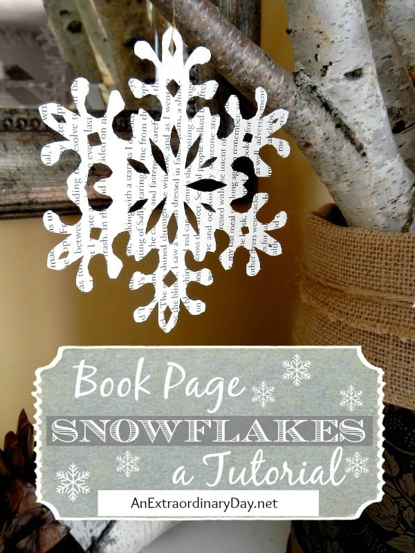 Book page snowflakes