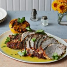 Brined turkey breast with spanish spiced rub and sour orange sauce
