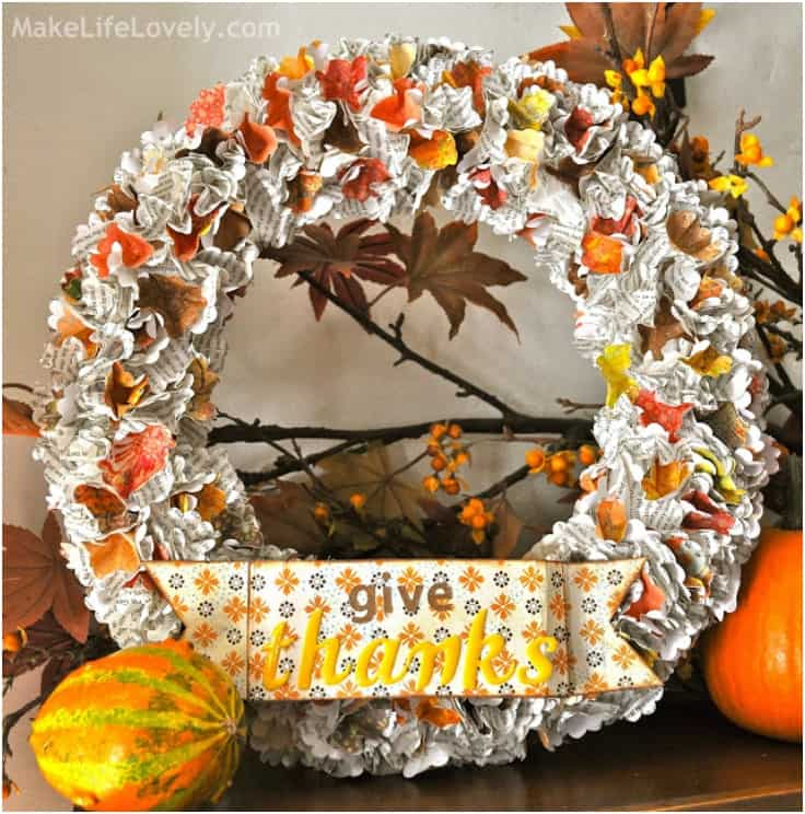 Cheap and easy paper flowers thanksgiving wreath