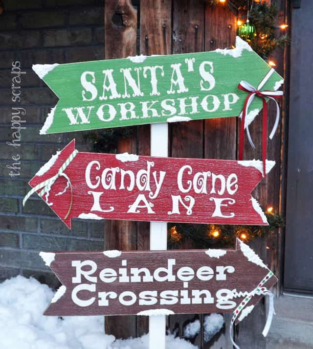 Christmas front porch arrow sign