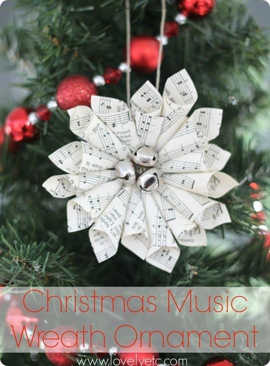 Christmas sheet music wreath ornament