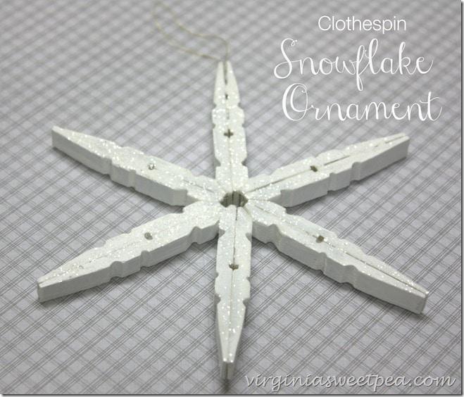 Clothespine snowflake ornament