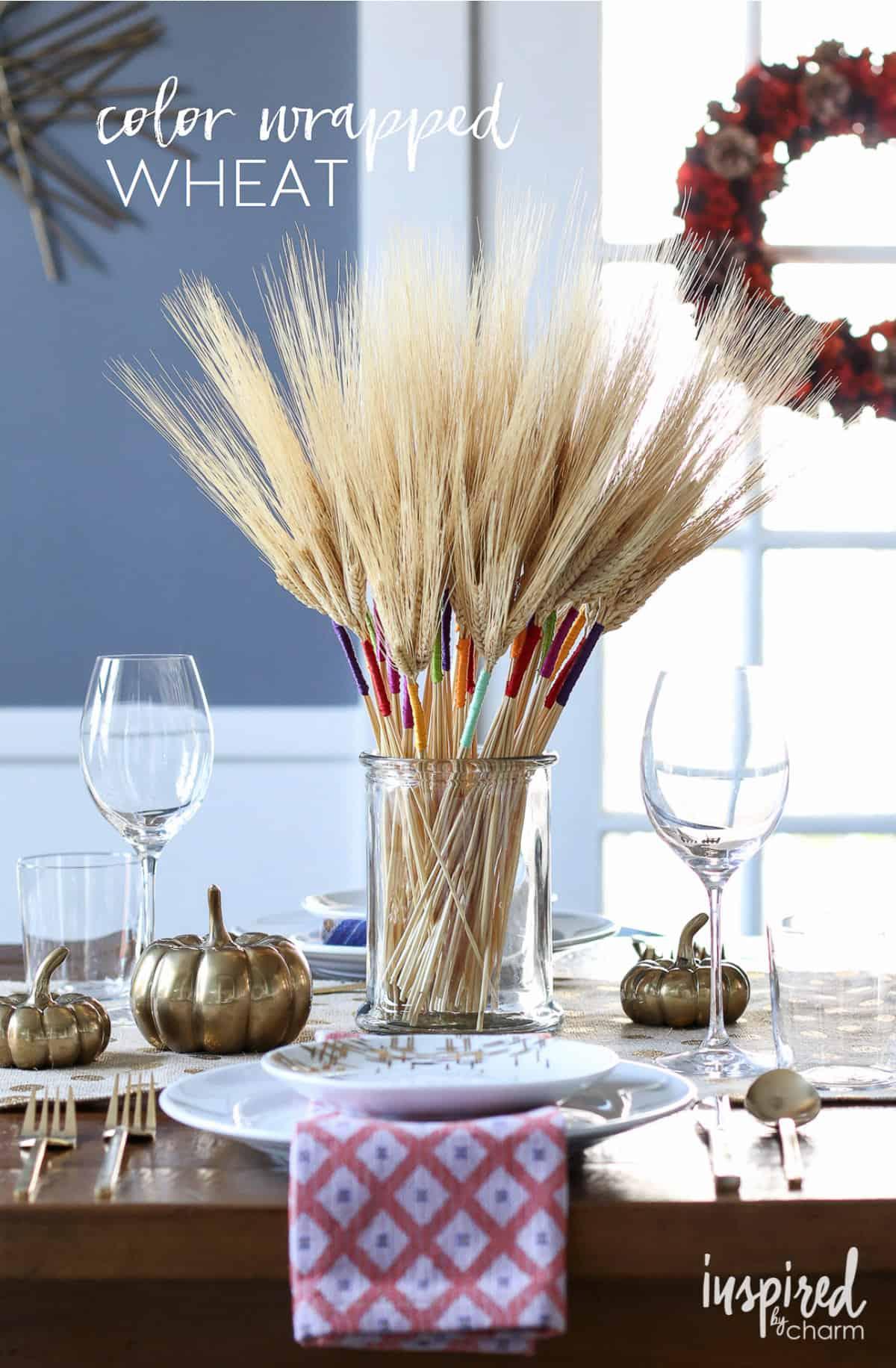Colour wrapped wheat bouquet