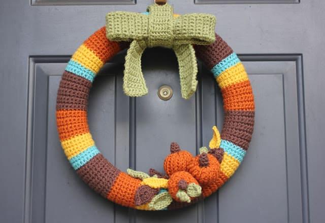 Colourful crocheted fall wreath