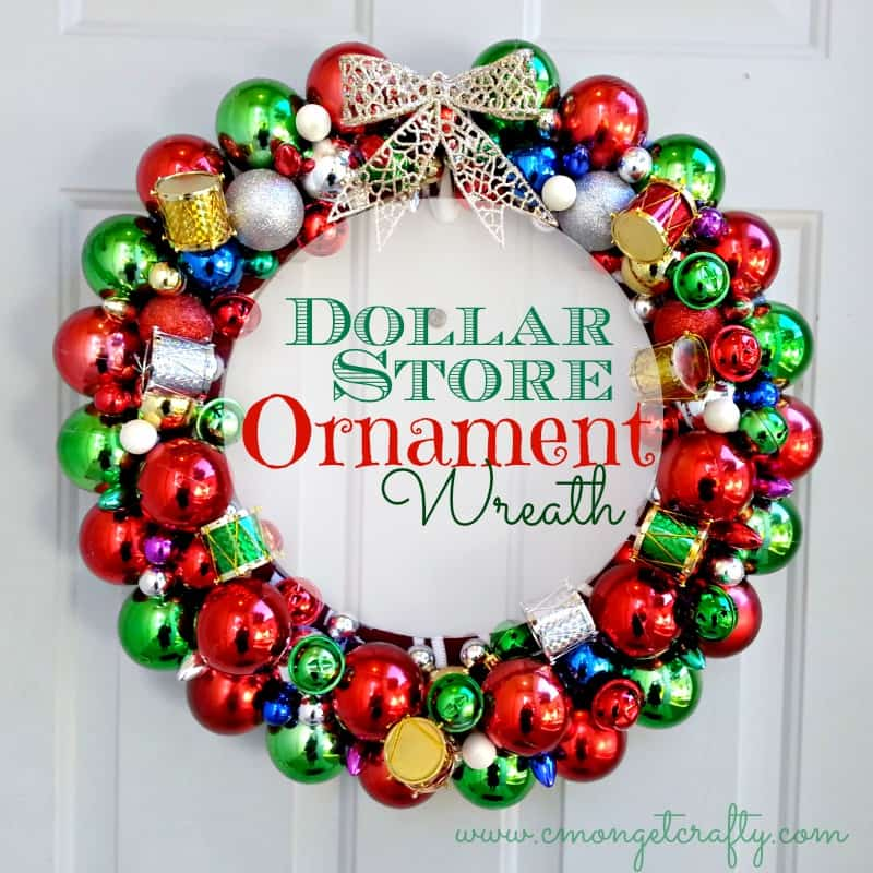 Colourful dollar store ornaments wreath