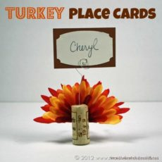 Cork and feather turkey place cards