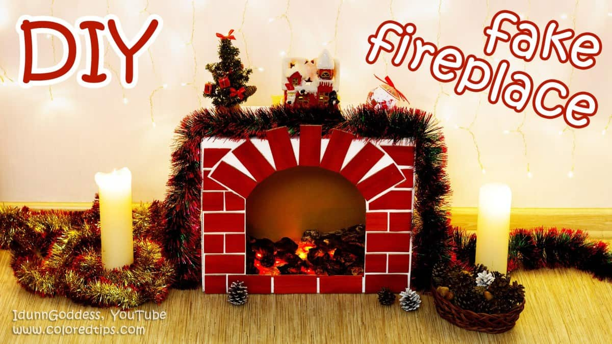 Cozy faux christmas fireplace and mantel