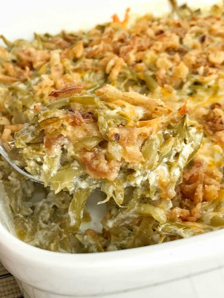 Creamy, cheesy green bean casserole