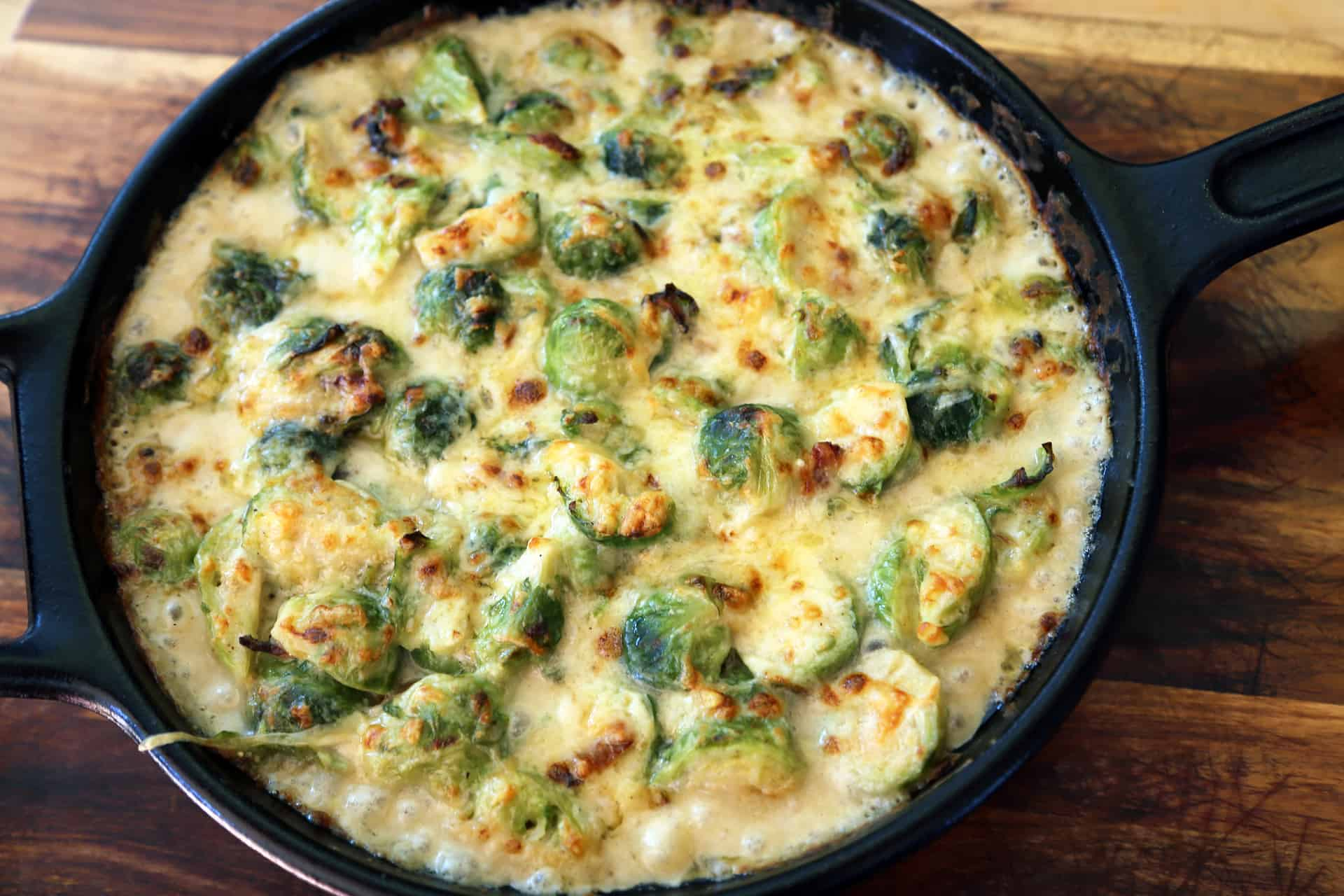 Creamy dijon brussel sprouts