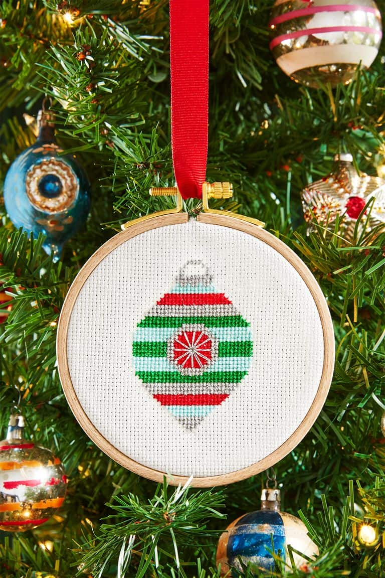 Cross stich ornaments easily personalized with initials