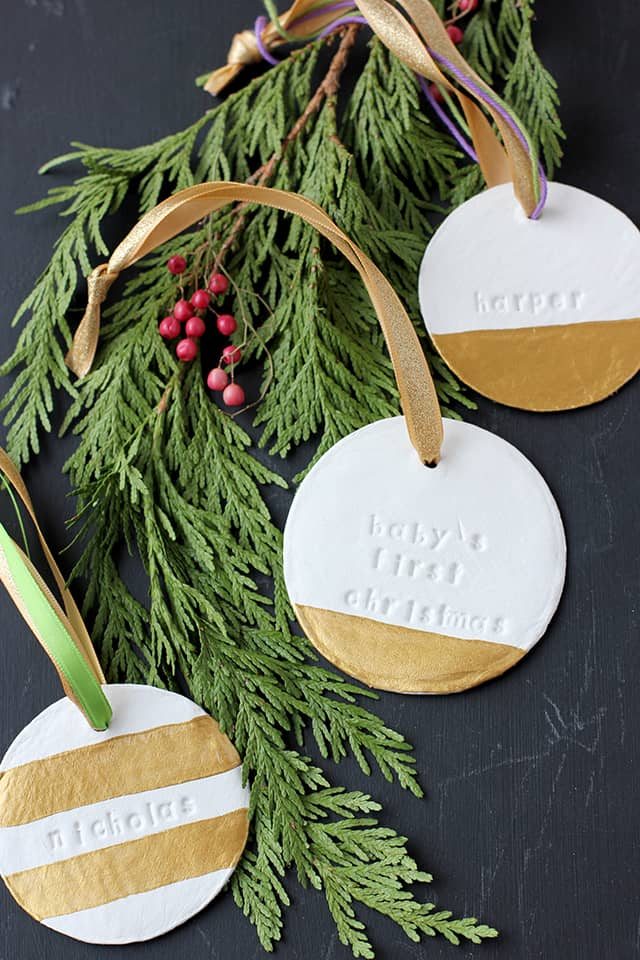 Cut letter stamped and metallic blocked clay ornaments