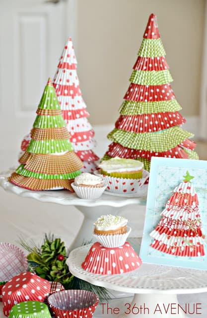 Cute cupcake liner christmas trees