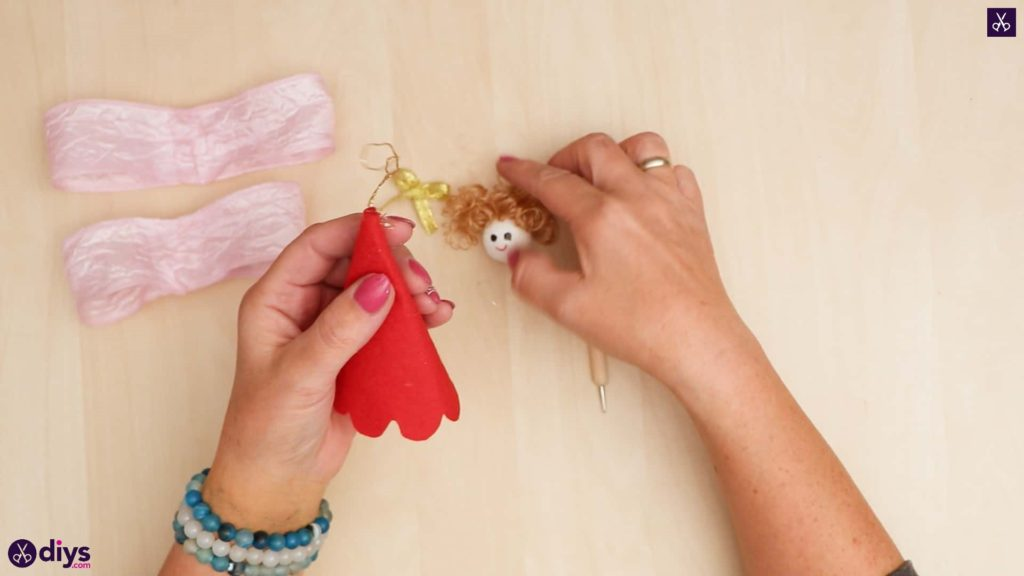 Diy christmas doll ornament for tree attach