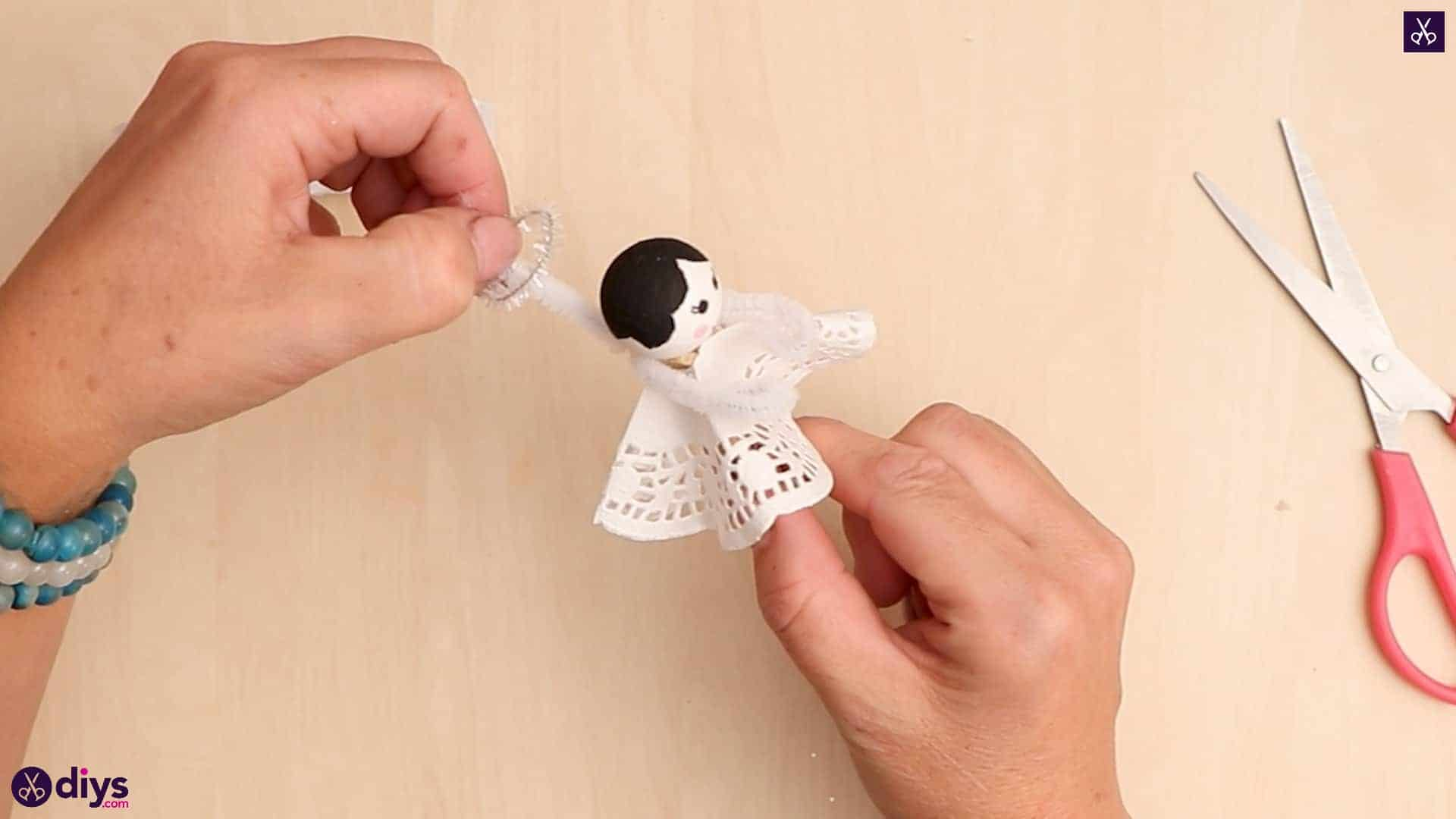 Diy clothespin angel ornament for christmas tree step 11