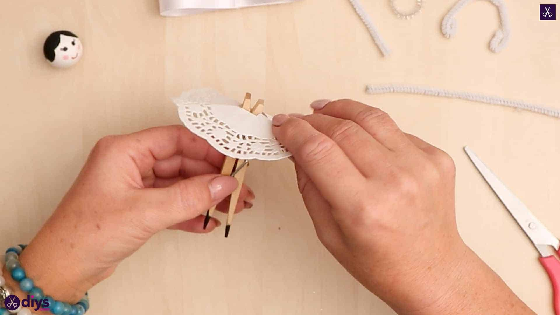 Diy clothespin angel ornament for christmas tree step 9