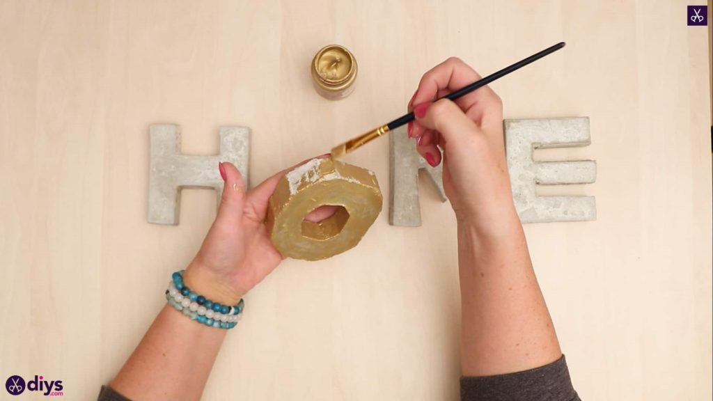Diy concrete letters gold