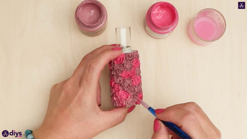 Diy concrete vase with rose pattern add roses paint