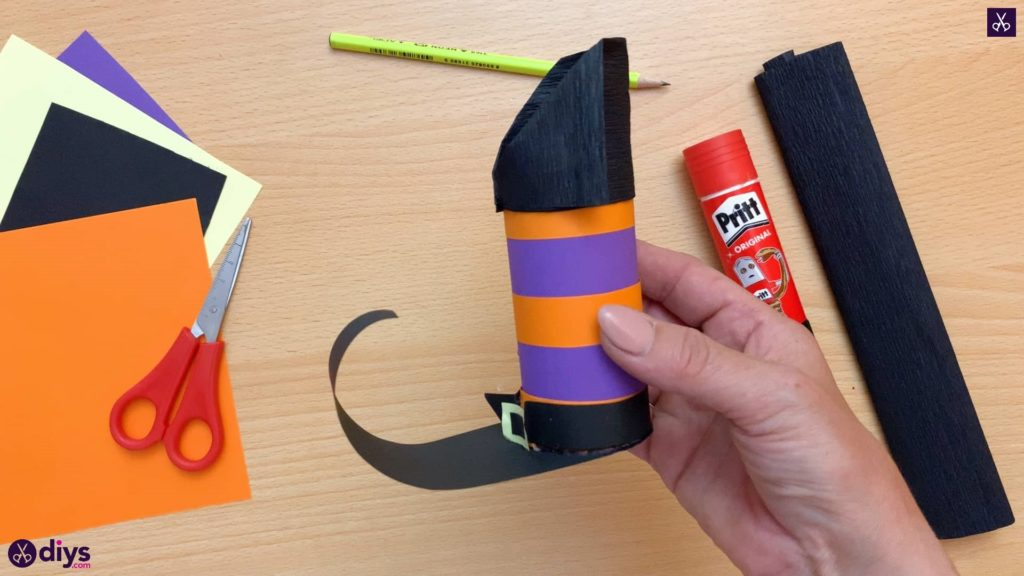 Diy how to make a halloween candy holder shaped like a witch's boot