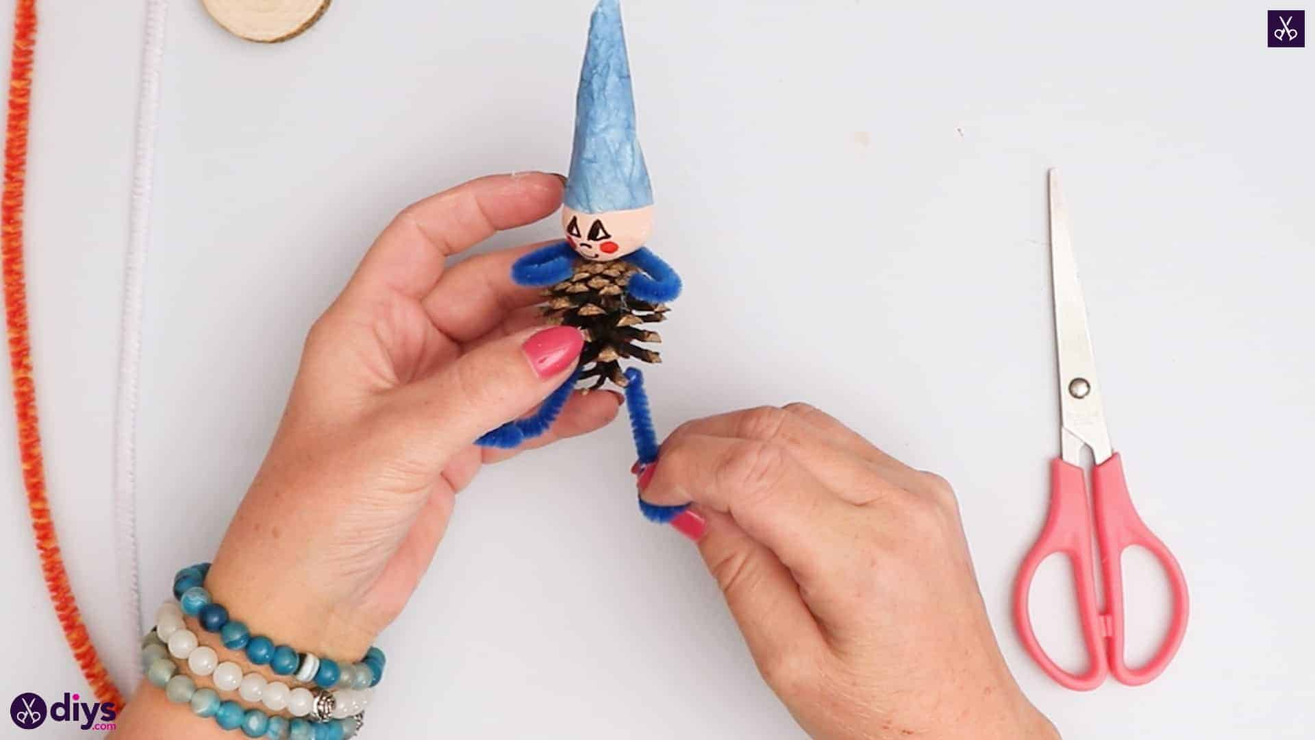 Diy pinecone gnome legs