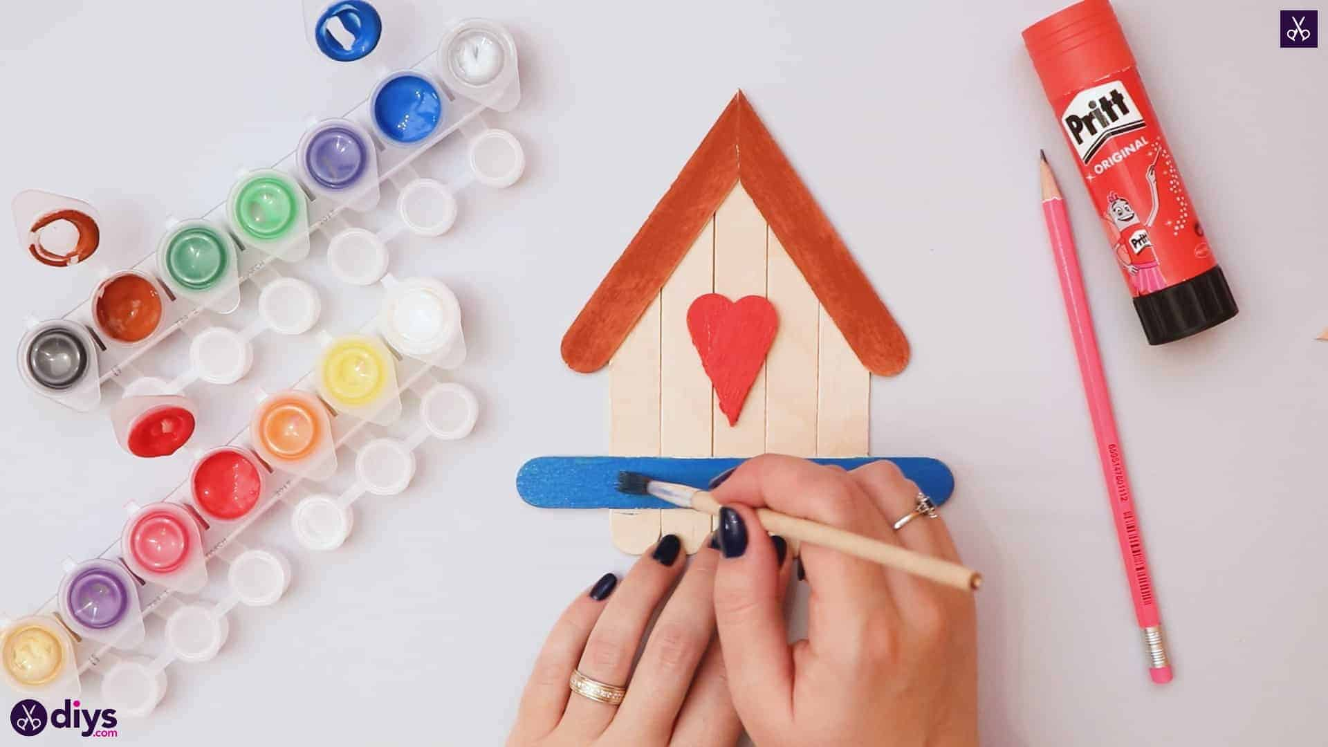 Diy popsicle stick house add color
