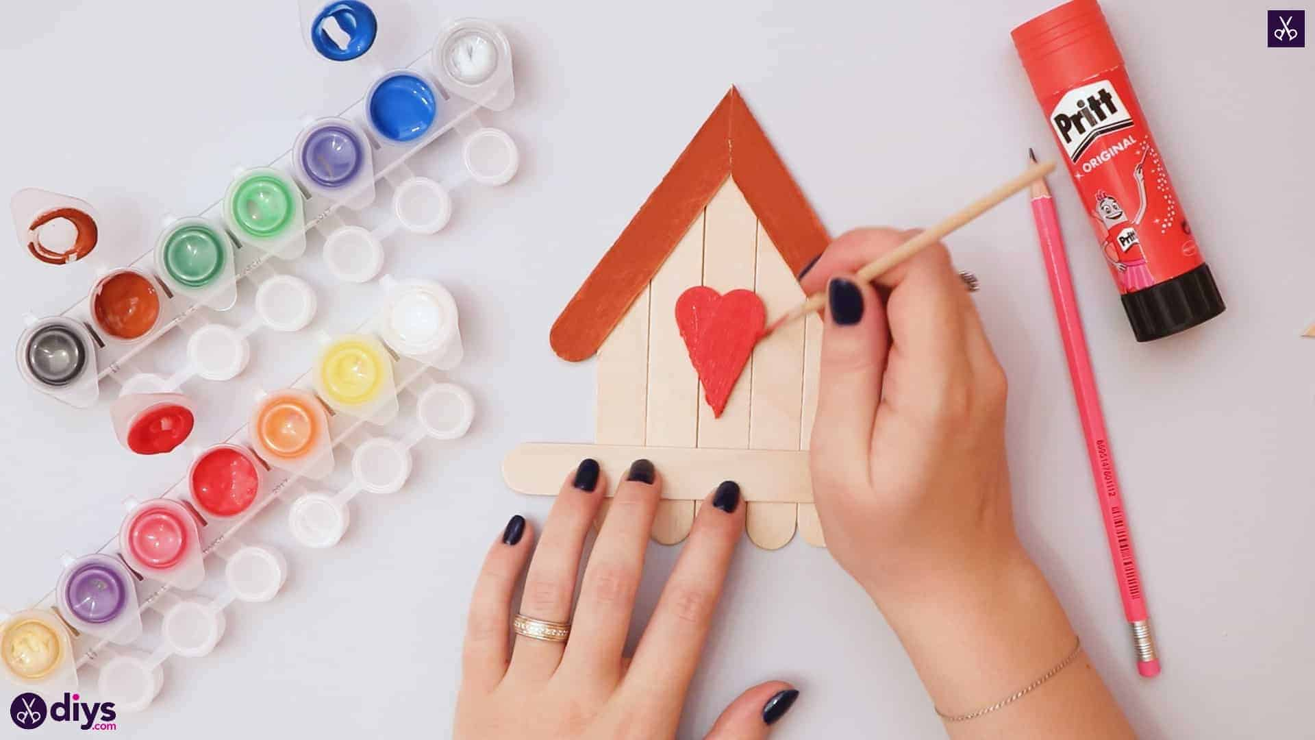 Diy popsicle stick house painting process