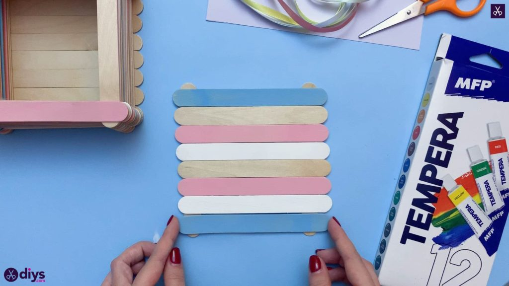 Diy popsicle stick jewelry box mixed colors