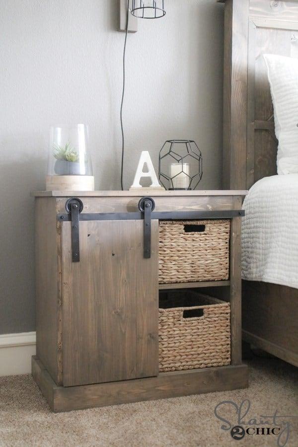Diy sliding barn door nightstand