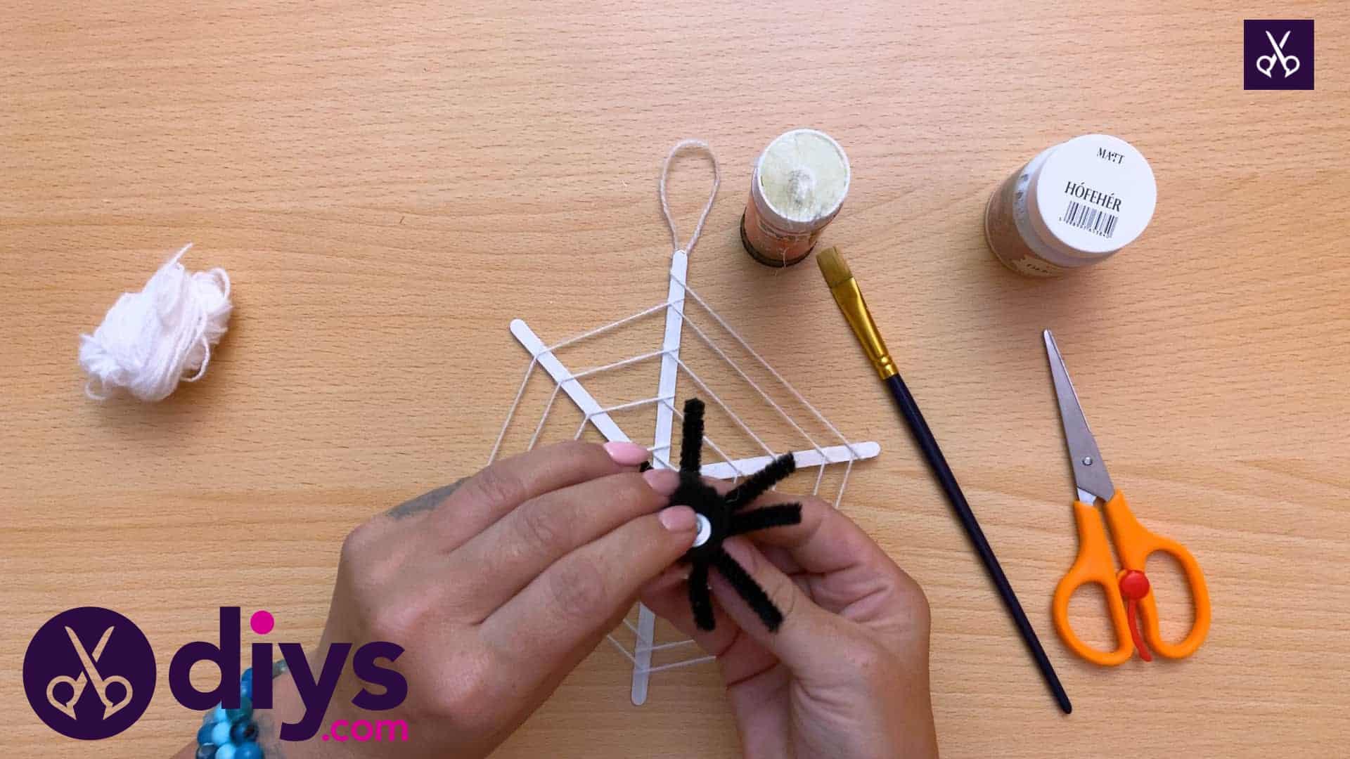 Diy spider web decoration for halloween craft