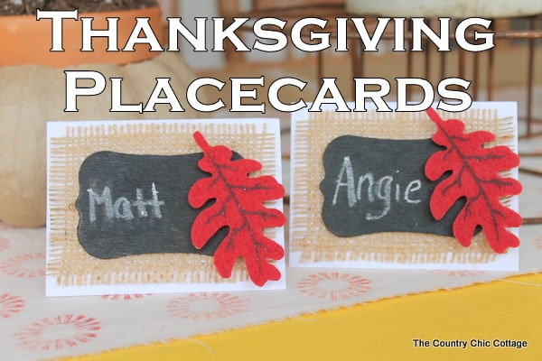 Diy burlap and chalk thanksgiving place cards