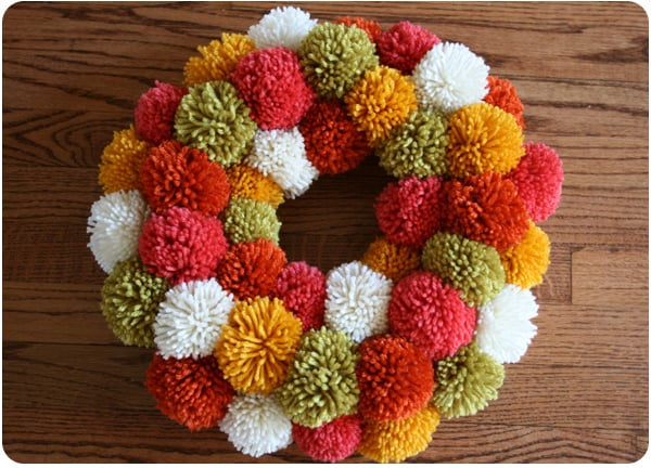 Diy fall pom pom wreath