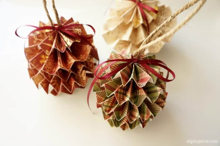 Diy folded paper pinecone ornaments