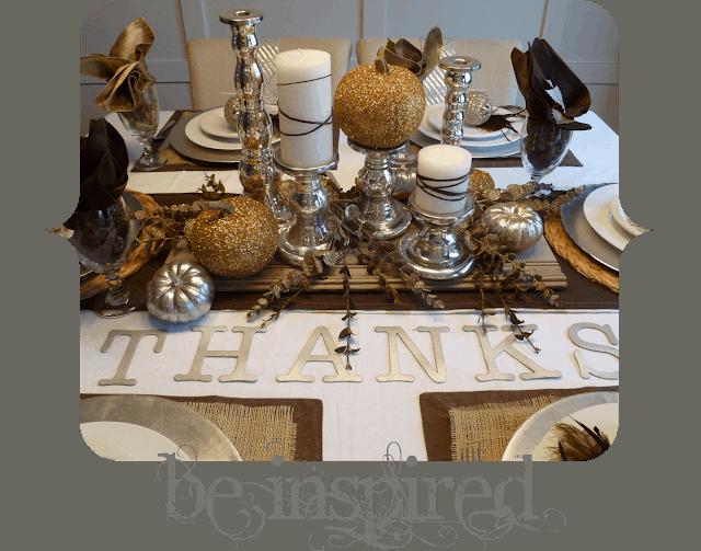 Diy metallic themed thanksgiving table decor