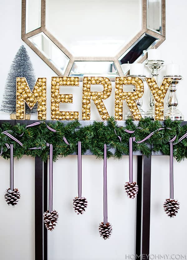 Diy ornament merry mantel sign