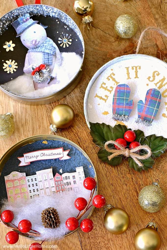 Diy vinage jar lid christmas ornaments