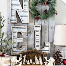 Diy wood and metal noel sign