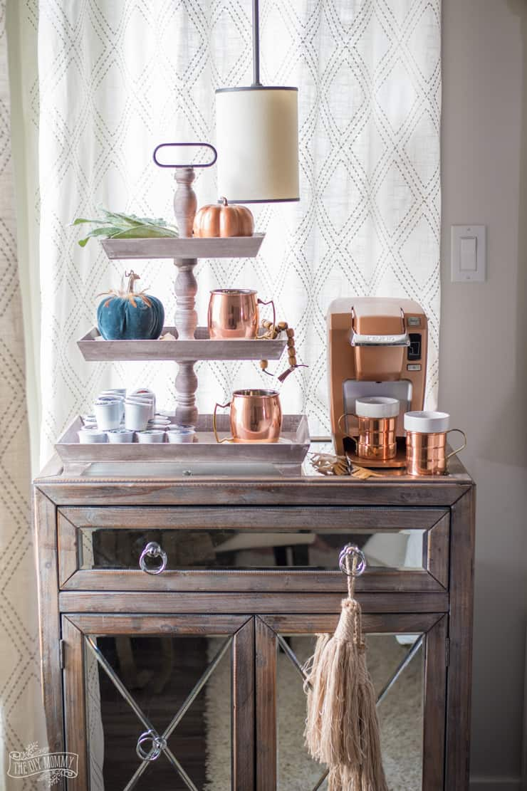 Fall bedroom coffee station