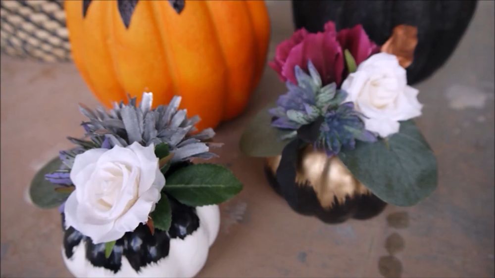 Fall floral pumpkin decor