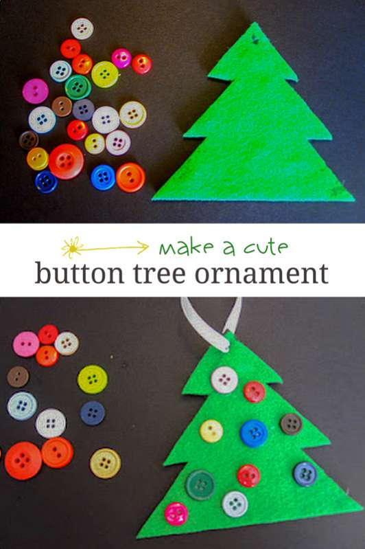 Felt and button christmas tree ornament
