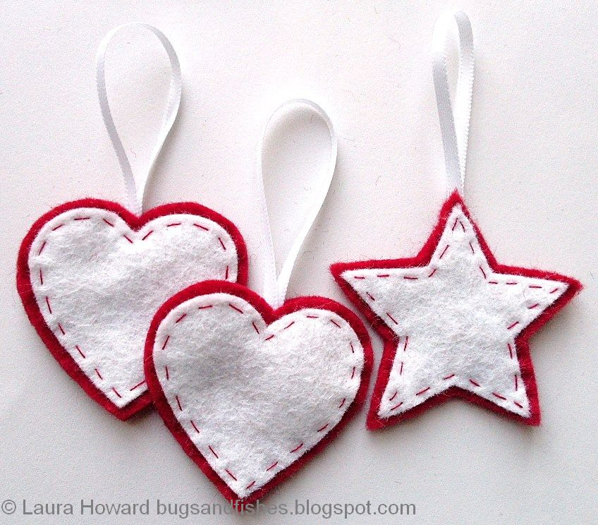 Felt star and heart tree ornaments