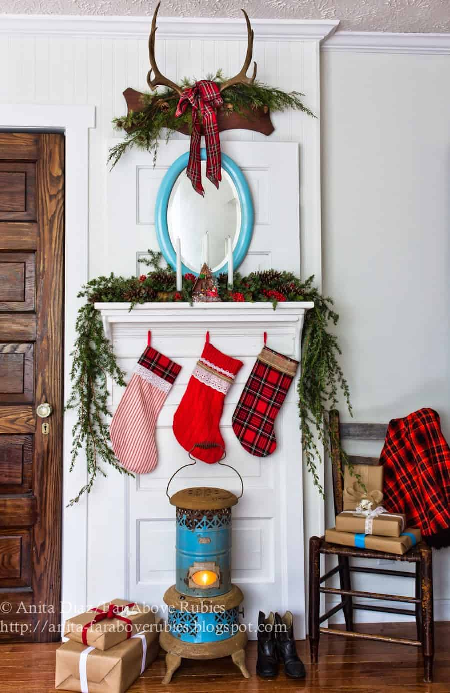 Festive green and plaid mantel