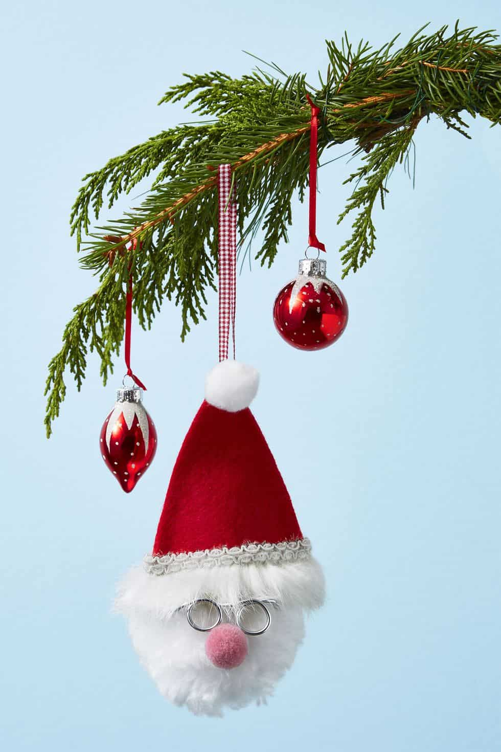 Fluffy santa ornament