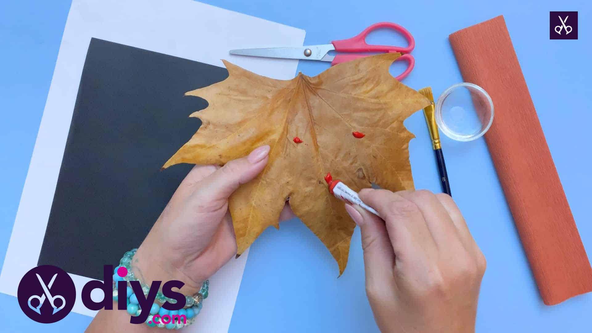 Fox from an autumn leaf paint