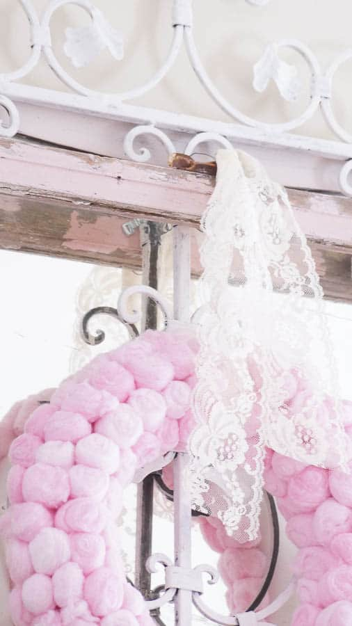 Fun cotton and lace mantel wreath