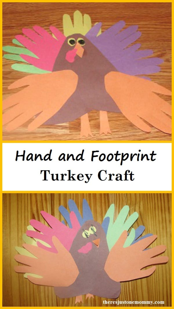 Hand and footprint paper turkeys