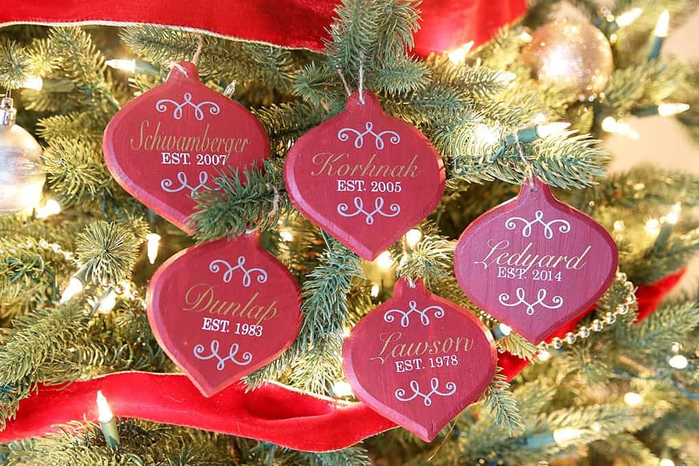 Hand stencilled wooden ornaments