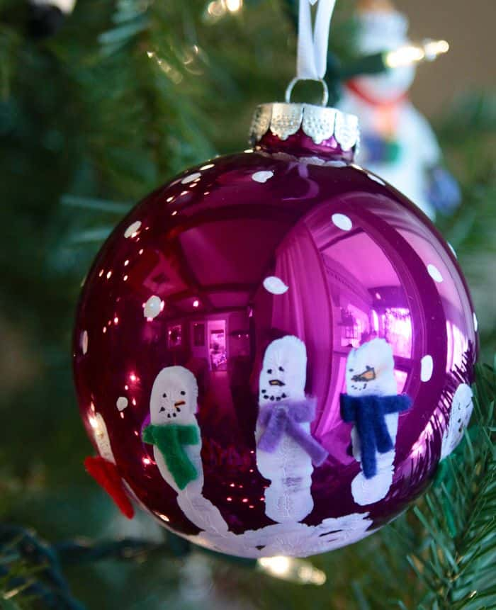 Handprint snowman christmas balls
